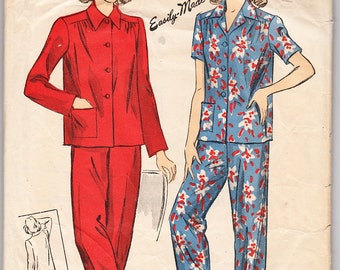 Vintage 1942 DuBarry 5538 Sewing Pattern Misses' Two-Piece Pajamas Size 14 Bust 32
