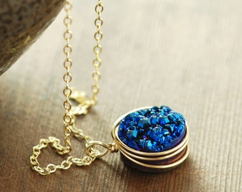 Sapphire Blue Druzy Gemstone Necklace, Druzy Pendant Necklace 14k Gold Fill, Drusy Jewelry