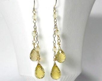 Yellow Drop Earring, Yellow Quartz Earring, Yellow Cascade Earring, Lemon Quartz Earring, SALE
