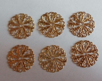 Vintage Component- Filigree- Gold Plated- Brass- Set of 6- Costume