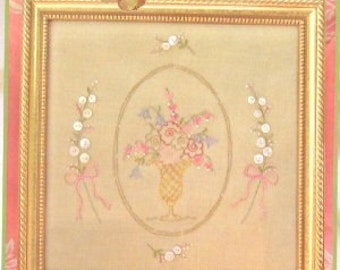 Heirloom Button Bouquet 233  Hand Embroidery Pattern Crabapple Hill Studios