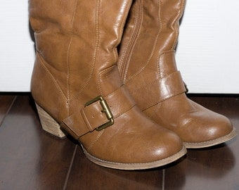 Camel Brown Buckle Tall Boots Size 8
