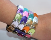 Colorful Metalic Leather Continuous Paillette Cuff with Magnetic Closure