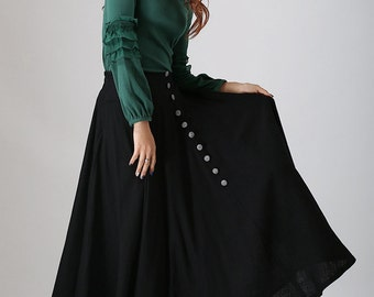 black skirt, linen skirt, long skirt, womens skirts, summer skirt, swing skirt, pleated skirt, high waisted skirt with button details (782)