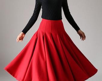 red skirt, wool skirt, long skirt, womens maxi skirt, pleated skirt, swing skirt, flared skirt, fashion clothing, high waisted skirt  (1092)