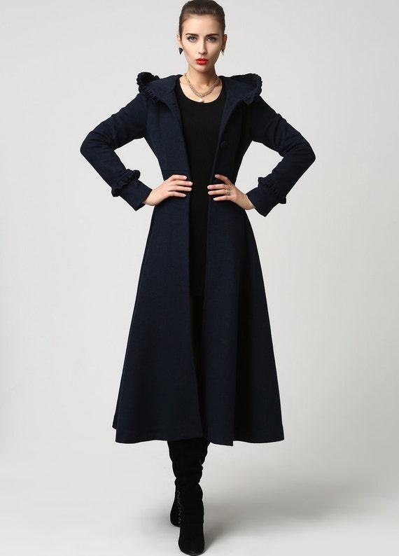 Long Navy Wool Coat