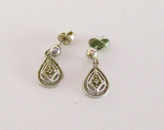 Diamond Earrings Silver Pierced Dangle Drop Posts Accent Jewelry Vintage