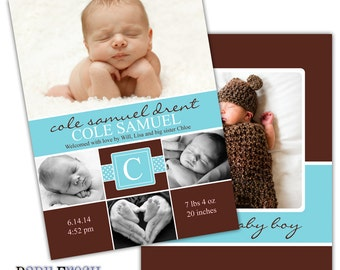 Instant Download - Photoshop PSD layered Templates for Photographers - Birth Announcement - Cole design