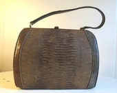 Vintage Mad Men Brown Faux Lizard Skin Kelly Style Handbag