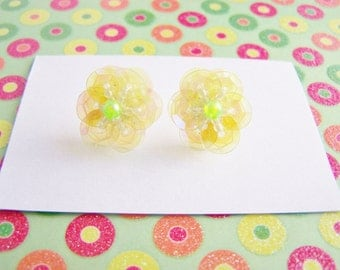 Flower Stud Earrings - Sparkly Sequin and Glass Bead Flowers - bridesmaids - weddings - wedding jewelry - affordable - a perfect gift