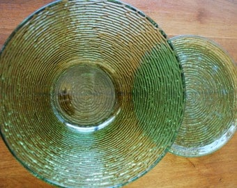 Vintage Anchor Large Bowl and Plate - Soreno Pattern - Avocado Green - Retro - Mod