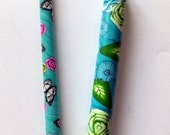 SALE - set of 2 crochet hooks - BOYE - handles beautifully covered with polymer clay