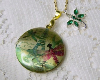 Dragonfly Locket - Dragonflies in Paris - Emerald Green Dragonfly Charm - Dragonfly Pendant -  Pantone colors