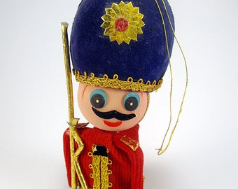 Nutcracker/Soldier with  Mustache Ornament, Holiday Home Decor, Christmas Tree Decor, Display, Mid Century