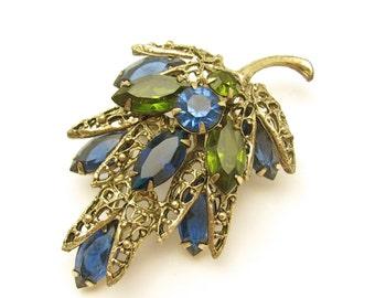 Rhinestone Pin, Vintage Rhinestone Pin, Blue Green Prong Set Rhinestone Brooch, Vintage Wedding, Bridal Jewelry, Bridal Bouquet, Hawaiibeads