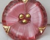 Three Petal Flower Czech Glass Button