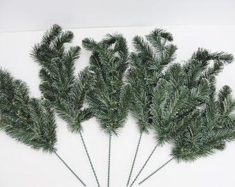 Evergreen picks set of 6, Pine spray, 12 tip pine spray, snow tipped evergreen pick