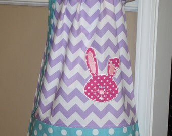 baby girls Easter dress,  Pillowcase Dress applique bunny face embroidered toddler girl dresses, purple, pink, blue, easter outfit