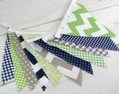 Bunting Banner, Photography Prop, Fabric Flags, Nursery Decor, Birthday Decoration, Garland, Pennant - Green, Grey, Navy Blue, Gray, Chevron