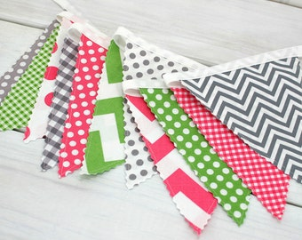 Bunting Fabric Banner, Fabric Flags, Girl Nursery Decor, Photography Prop - Pink, Gray, Green, Grey, Chevron, Dots
