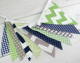 Bunting Banner,Photography Prop,Fabric Flags,Nursery Decor,Birthday Decoration,Garland,Home Decor,Pennant,Green,Grey,Navy Blue,Gray,Chevron