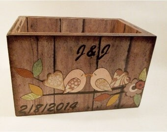 Wedding Card Box, Wedding Guest Book Box. Large Recipe Box, Holds 6x9 Cards, Rustic Birds, Fall, Autumn MADE TO ORDER