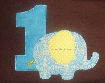 Elephant Birthday Shirt  Aqua and Yellow