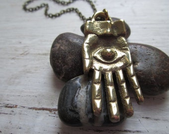 Large Evil Eye Hamsa Hand Charm on Chain - Turkish Amulet - Vintage Style