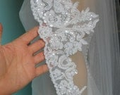 Beaded Lace Veil available in white OR Ivory. A stunning Finger tip length veil. FREE domestic shipping