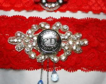 Fireman garter theme with real NYC Fire Dept. vintage uniform buttons over a bed of crystal rhinestones