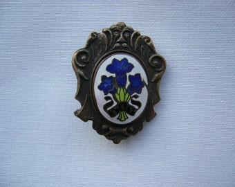 Vintage Gentian Brooch Pin Switzerland Austria Souvenir