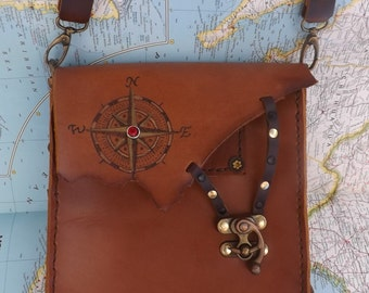 Steampunk British Tan Brown Leather bag purse extra long strap Unisex Compass windrose  Very Dashing