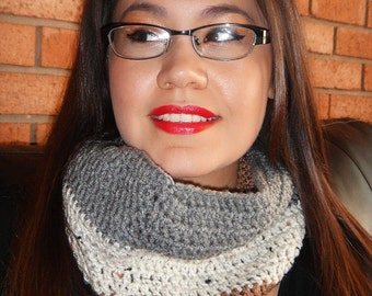 Crochet Cowl in Grey Oatmeal and Brown (C30)