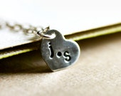Personalized Boyfriend Girlfriend Necklace - Heart Charm Necklace, Sterling Silver Custom Initial Jewelry, Valentine's Day Gift