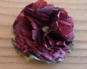 Three taffeta flower pins, hair clip set. Wine. FREE SHIPPING in the US