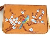 Hand tooled leather folio, purse, multi pocket clutch with colored peacock and cherry blossoms, Hippie girl meets Yuppie