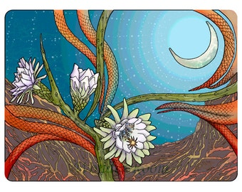 A7 SINGLE- Moonlit Night Blooming Cereus, desert landscape, fiery ribbons