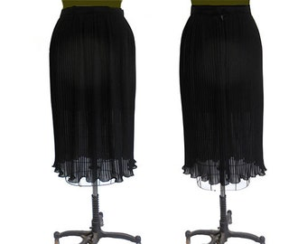 Vintage  Crystal Pleated  Skirt Black Semi Sheer Poly Georgette  Size Small 27 Inch Waist