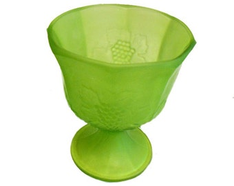 Vintage Lime Green  Satin Glass Bowl Planter  on Pedstal  with Grape Bunch and Leaf Designs