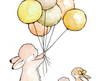 Children Art Print. Balloons for Bunnies GOLDEN. PRINT 8X10. Nursery Art Wall Decor