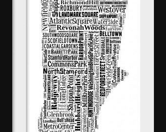 Stamford Connecticut Map Typography Map Tyographical MapPoster Print