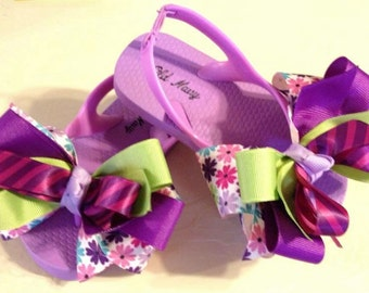 Toddler Girl's size 7 Flip Flops with Purple & Green Boutique Bows