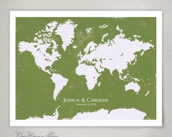 Birthday Anniversary Guest Book Alt Print Custom color and names WORLD MAP art - Modern original Guestbook Poster
