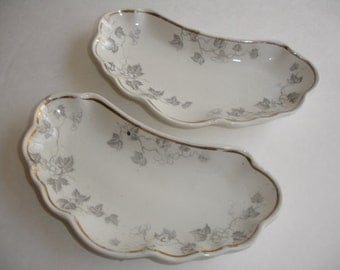 Bone China  Plataes   A. J. Wilkerson  Set of 2 Crescent Shape China Plates Shabby Cottage Chic