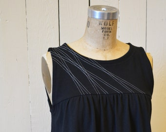 Sale, Size Extra Large, Lines Swing Tank, Women's Top, Cotton Jersey, Modern Style- ready to ship