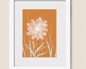 Orange Dandelion 5 x 7 Art Print, Nursery Room Wall Decor, Grass, Nature Wall Art House Decor (83)