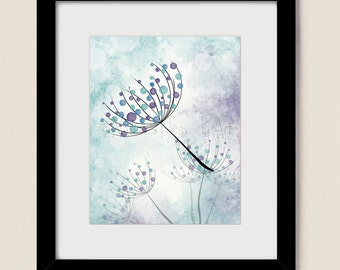 Aqua Purple Wall Decor for Home or Office, Blue Living Room Wall Art 8 x 10 Print, Blowing Dandelion Seed (339)