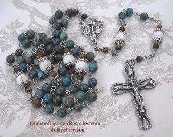 Queen of Heaven Blue Sky Jasper Rosary