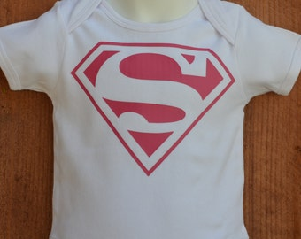 Girls Superman cotton bodysuit onesie for babies
