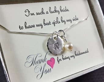 I'm Such a Lucky Bride Bridesmaid Necklace - Sterling Silver Bridesmaid Jewelry - Bridesmaid Gift - Wedding party Gift